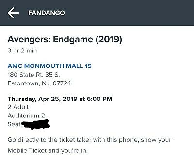 Avengers Endgame Two Dolby Cinema Central NJ Opening Night Tickets!