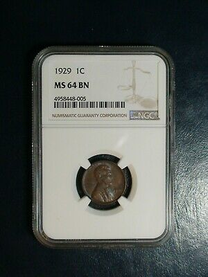 1929 Lincoln Wheat Cent NGC MS64 BN 1C Penny Coin PRICED TO SELL!