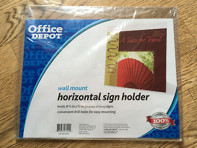 11- Office Depot Wall Mount Horizontal Sign Holder 21.6 x 27.9 cm Signs NEW LOT