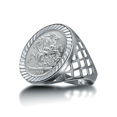 Jewelco London Sterling Silver St George Dragon Slayer 10th-Krugerrand-Size Ring