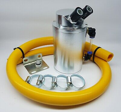 Silver Alloy Oil Catch Tank Yellow 19mm Hose VW Audi Seat Skoda 1.8 20v Turbo