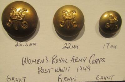 Women's Royal Army Corps Post WWII Group of 3 Different Sized Buttons 1949