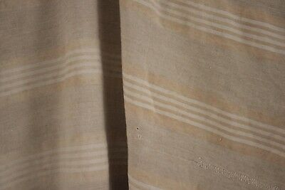 Ticking Fabric Antique French linen herringbone faded beige stripes upholstery