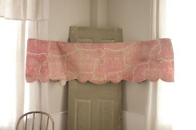 Toile de Normandy Fabric 1825 quilted valance pink Antique French Mary Stuart