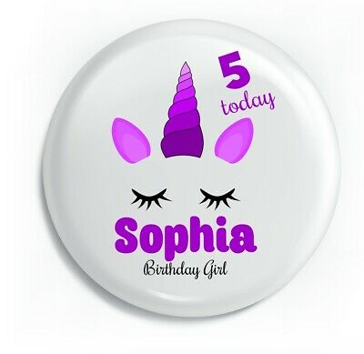 Personalised Purple Unicorn Birthday Metal Pin Badge