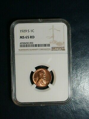 1929 S Lincoln Wheat Cent NGC MS65 RED GEM 1C Penny Coin PRICED TO SELL!