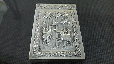 Very Rare Solid Silver Indian Victorian Hunting Card Case Circa 1880.