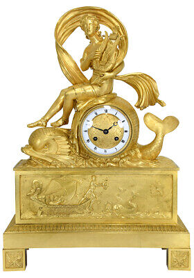 Orphée dauphins. Kaminuhr Empire clock bronze horloge antique cartel pendule