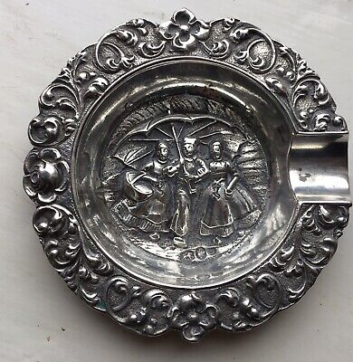 Genuine Antique Dutch Solid Silver Ashtray Repousse Collectible Beautiful Cond