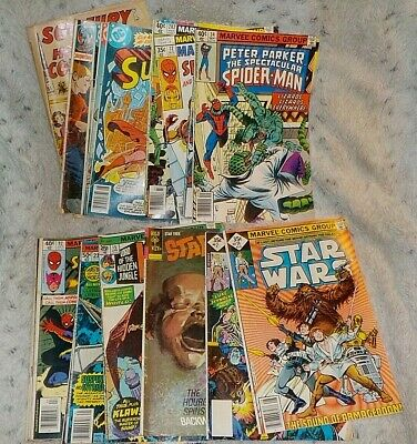Lot of 20 vintage comic books, 1967 - 1980, Superman, Star Wars, Spider Man