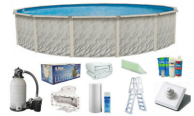 Taupe Ladder /& Sand Filter Above Ground Round MEADOWS Swimming Pool w// Liner