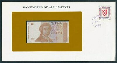 Croatia: 1991 1 Dinar Banknote & Stamp Cover, Banknotes Of All Nations Series