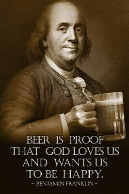 BEN FRANKLIN BREWERY BEER IS LIVING PROOF THAT GOD LOVES US BOTTLE OPENER NEW