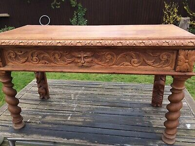 Unusual Antique Carved Green Man Console Table
