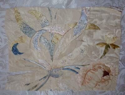 TIMEWORN FRAGMENT 19th CENTURY FRENCH EMBROIDERED SILK 225.