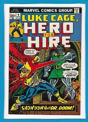 """Luke Cage, Hero For Hire #9_May 1973_Vf/nm_""""showdown With Dr. Doom""""_Bronze Age!"""