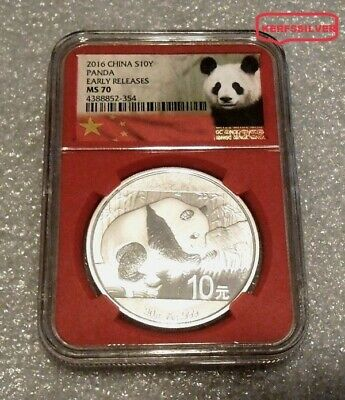 2016  China Panda  30 Gram   Ngc Ms70  Early Releases  10 Yuan - Red Core Holder
