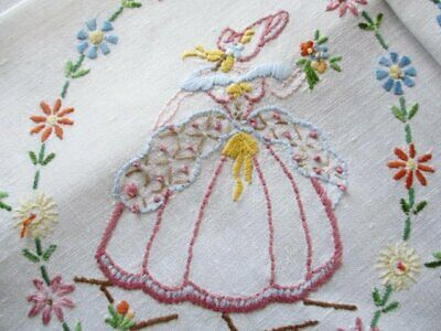 Vintage Tablecloth-Crinoline Lady & Flowers-Hand Embroidered-Linen
