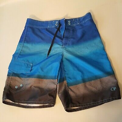8b249cf86174e O.P. Mens 30 Board Shorts Swim Trunks Skater Surfer Blue Gray Faded & Black  OP