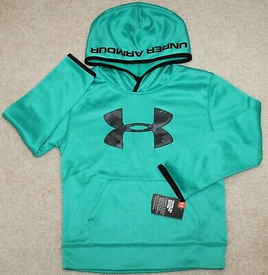 New! Boys Under Armour Big Logo Hoodie (Pullover; Camo; Green/Black) - Size 6
