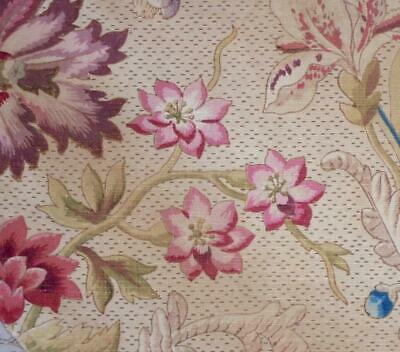 BEAUTIFUL FRAGMENT 19th CENTURY FRENCH LINEN COTTON BLOCK PRINT INDIENNE 226