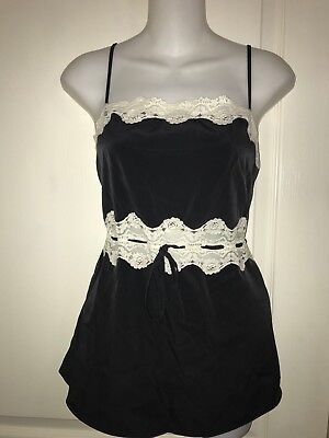 NWT Enchanting Baby Doll Black Ivory Lace Inserts Cami Size M