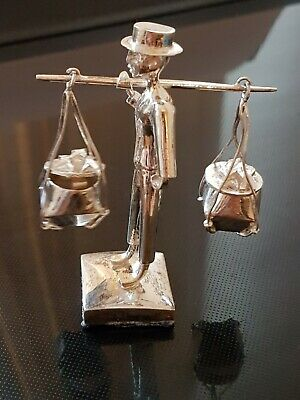 Vintage Sterling Silver Man Carrying Two Pots Ornament