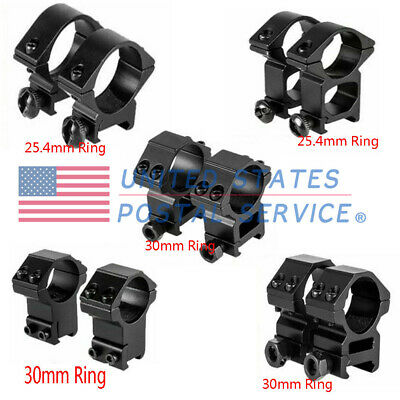 "30mm 1"" Riflescope Ring Mount Dovetail 11&20mm Picatinny Rail High Low Profile"