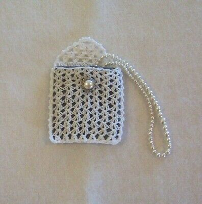 Hand Crochet White with Gray Lining Rosary Jewelry Pouch Case