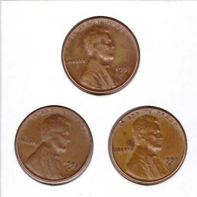 1953 P D S Lincoln Cent Wheat Back Penny 3 coins