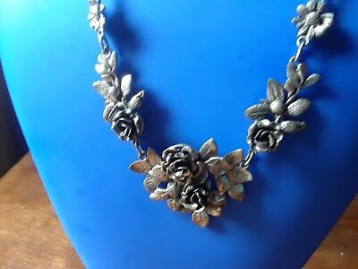 Antique PERUZZI Florence .800 Silver Rose necklace and matching earrings.