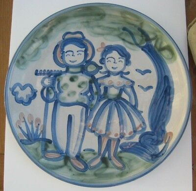 """M A Hadley~Farmer & Wife Round Platter~15 1/2""""~Country Pottery Stoneware"""