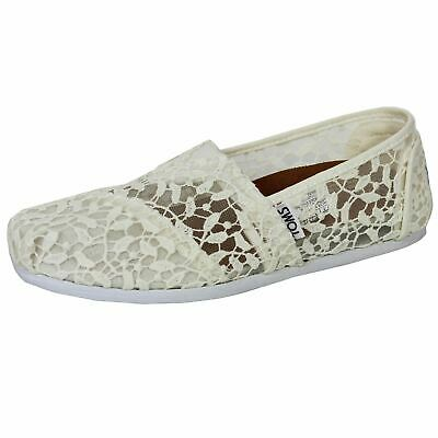 Toms Shoes Classic Lace Leaves Plimsolls Womens Off White Espadrilles