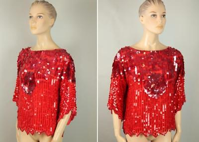 Vtg SWEE LO Silk Evening Embellished Sequin Beaded TROPHY Top Blouse Shirt S