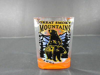 Vintage Great Smoky Mountains Black Bears Souvenir Shot-Glass Decor Bar-Ware