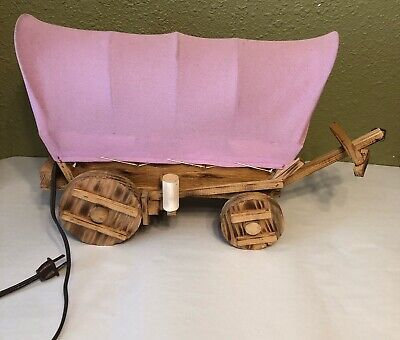 Vintage Unique Wooden Covered Wagon Lamp W/ Pink Cover 20""