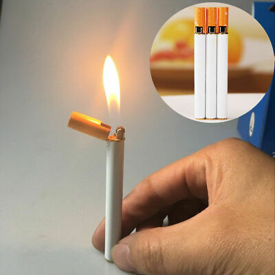 Novelty Windproof Flame Cigarette Shaped Refillable Butane Gas Cigar Lighter New