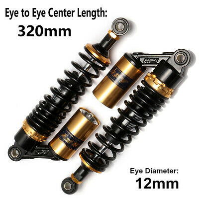 320mm 12.5'' Motorcycle Rear Air Shock Absorbers For Honda Yamaha Suzuki Gold AU