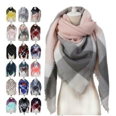 Women Casual Plaid Tassel Shawl Blanket Triangle Scarf Scarves 26 Colors