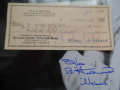 AVA GARDNER 1959 Signed Check VINTAGE autograph 1X World's Most Beautiful Woman