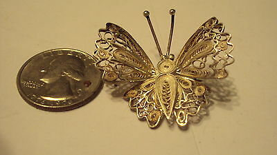 Vintage Beautiful Sterling Silver 925 Filigree Butterfly Pin / Brooch pl 5