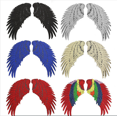 1 Pair Sequins Feather Wings Patches Applique Embroidered Patch DIY