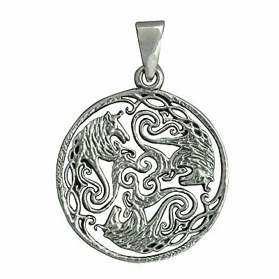 Celtic Three Horse Braided Hear Knot Pendant 6 g Sterling Silver Beldiamo