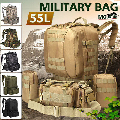 55L Hiking Camping Bag Army Military Tactical Trekking Rucksack Backpack Camo