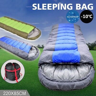 220X85CM Outdoor Camping Sleeping Bag Single Envelope Tent Hiking Thermal Winter