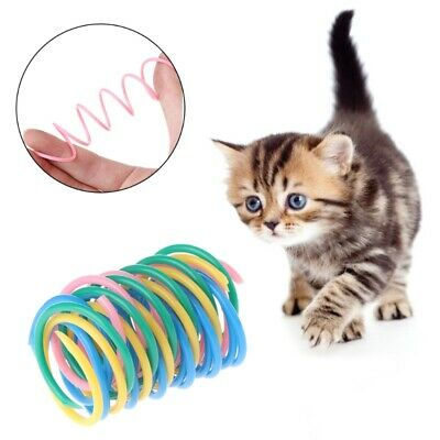 5pcs Cat Toy Colorful Spring Plastic Bounce Pet Kitten Interactive Random Color