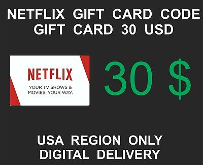 Netflix Prepaid Gift Card Key Service, USA Region Only, 30 USD Credit