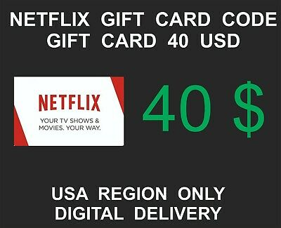 Netflix Prepaid Gift Card Key Service, USA Region Only, 40 USD Credit