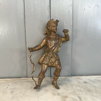 Antique cast spelter figure of Scottish man in kilt