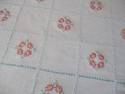 ViNTAGE TABLECLOTH - HAND EMBROIDERED with PINK FLOWERS - LINEN